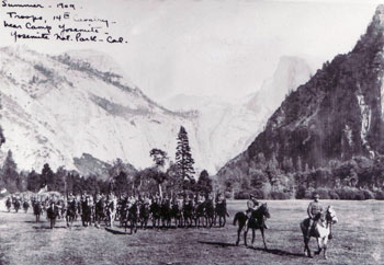 The 14th Cavalry on parade at Camp Yosemite in 1909