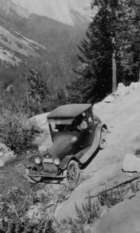 Model T on the switchbacks into Yosemite