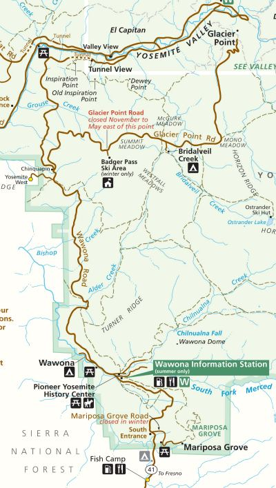 Map for the Wawona Road the historic stage route to Yosemite Valley