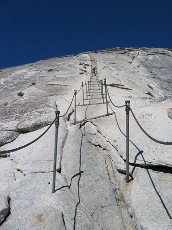 Cables to the top of Half Dome now assist climbers unlike in Andersons day!
