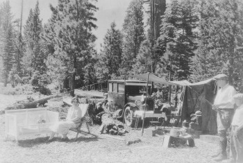 Camping along the Tioga Road in the 1920's. DHH Collection