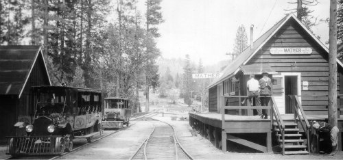 Yosemite park history. Mather Station, rail cars. DH Hubbard collection.