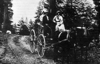 Travelling on the Old Tioga Road by wagon
