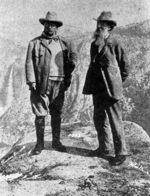 Theodore Roosevelt and John Muir on Glacier point 1903.