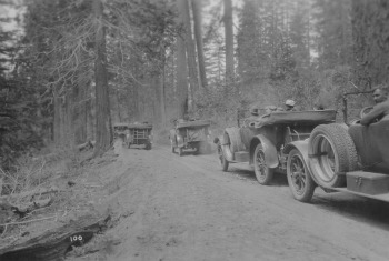 Bumper to bumper on Yosemite's Tioga road in the 1930's