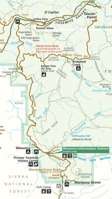 Map of the historic Wawona Road stageroute to Yosemite