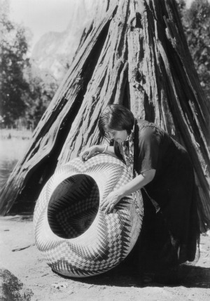 Beautiful Yosemite Indian Basket weaving