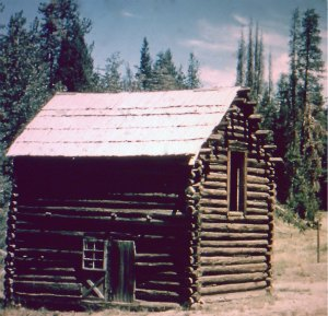 The early Pioneers. Yosemite pioneer cabin at its original site in Aspen Valley. DH Hubbard collection.