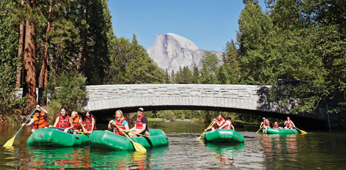 Rafting on The Merced River. Yosemite National Park.