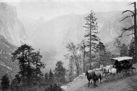 Entering Yosemite Valley on the Wawona Road by stagecoach.