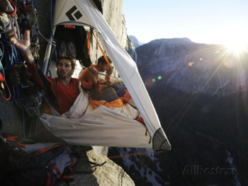 Climbers settle in to their Portaledge. Jimmy Chin AllPosters.com