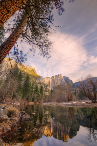 A distant Yosemite falls reflected. All Posters.com