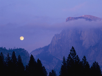Moon and Half Dome in clouds. AllPosters.com