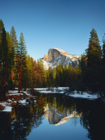 Half Dome in snow reflected in the merced river. AllPosters.com