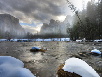 Snowy Yosemite from Valley View. AllPosters.com