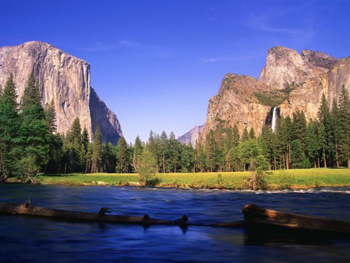 Yosemite valley in late afternoon sunlight from valley view. AllPosters.com