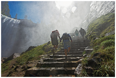 Hiking Yosemite's Mist Trail In Yosemite. Phot DNC