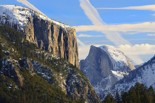 Tis-sa-ack, the old indian woman, looks sadly from the face of half dome at her husband who was also turned to stone.