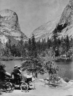 Mr. Oliver Lippincott and his Locomobile were the first cars to reach Yosemite