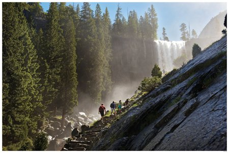 Hikers on Yosemite's Mist Trail to Vernal Falls