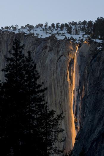 Firefall. Horsetail Fall illuminated by the setting sun.