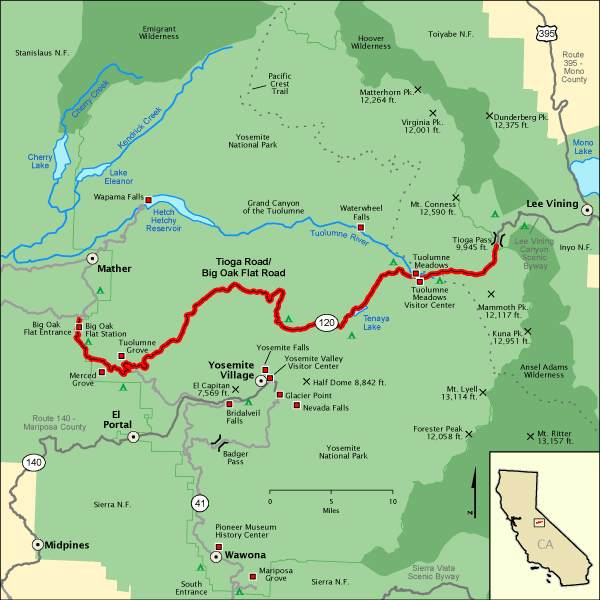 Map of the Big Oak Flat Road to the Tioga Road ending at Tioga Pass