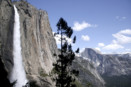 Yosemite Falls and Half Dome. Yosemite National Park