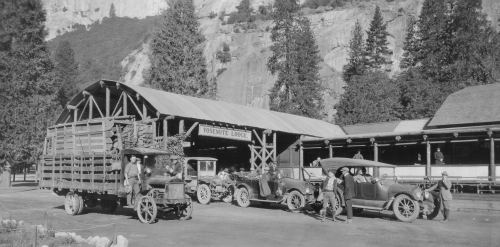 Yosemite park history. Yosemite's Old Lodge. DH Hubbard collection.