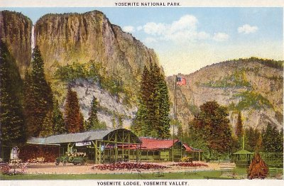 Yosemite Lodge vintage postcard. DH Hubbard collection.