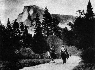 John Muir and Teddy Roosevelt on horseback. Yosemite 1903. DHH Collection