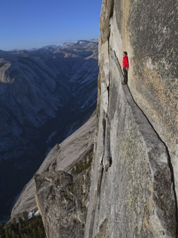 40 foot sliver on half dome the thank God ledge. Jimmy Chin AllPosters.com