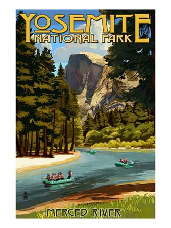 Rafting On Yosemites Merced River. AllPosters.com