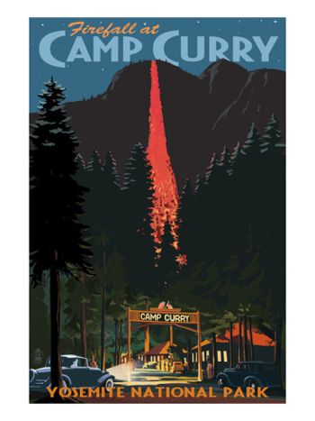 The Historic Yosemite Firefall From Camp Curry-AllPosters.com