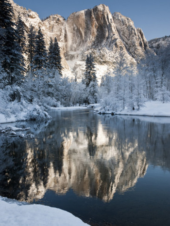 Frozen Yosemite falls reflected in the Merced River. AllPosters.com